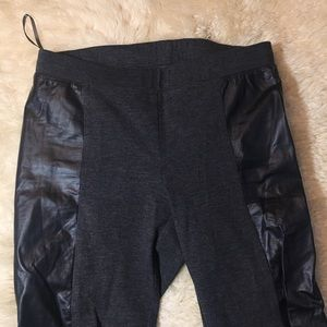 DKNY black faux leather leggings tights pants